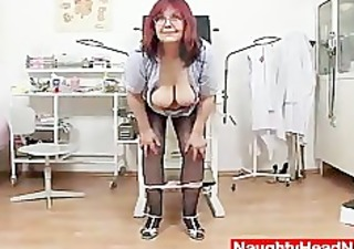 redhead huge boobies cougar widens her haired