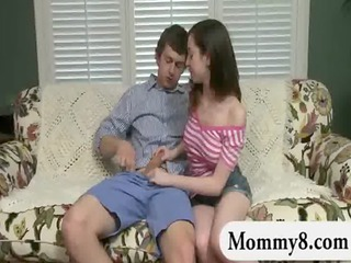 aged stepmom catches a legal age teenager pair