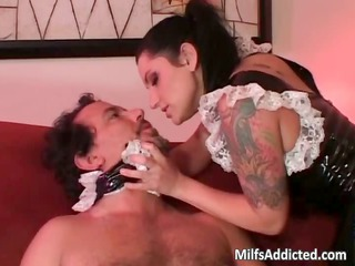 brunette hair latina doll gives oral pleasure