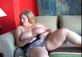 nice-looking cougar has valuable large love melons